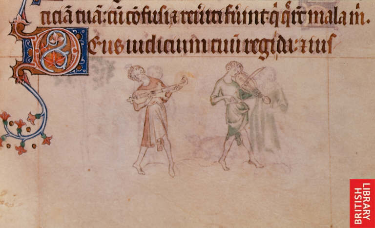 citole and fiddle Queen Mary Psalter